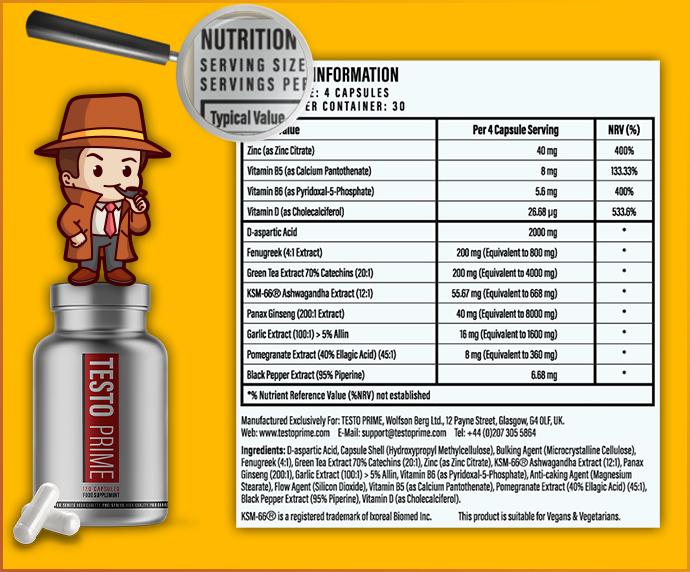 composition testoprime ingrédients